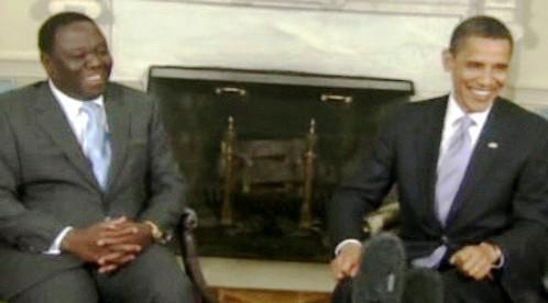 Morgan Tsvangirai a Barack Obama