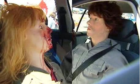 Porovnání nehody bez bezpečnostních pásů a s nimi