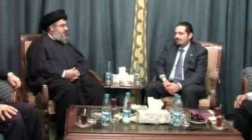 Vůdce Hizballáhu Sajíd Nasralláh a lídr sunnitů Saad Harírí