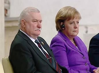 Lech Wałęsa a Angela Merkelová