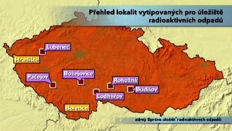 Přehled lokalit vytipovaných pro úložiště radioaktivních odpadů