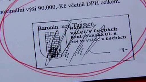 Smlouva podepsaná Alenou Thyssen