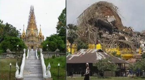 Zřícený chrám v Barmě