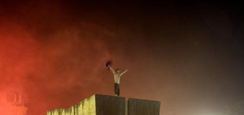Fanoušek slaví vítězství Barcelony