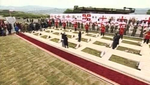 Pietní akt na hřbitově padlých Gruzínců