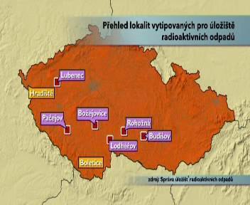 Mapa vytipovaných úložišť jaderného odpadu