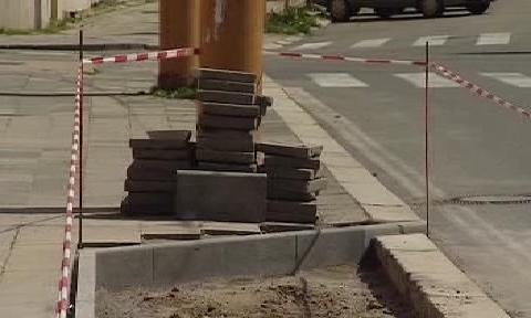 Stavba chodníku v Jihlavě