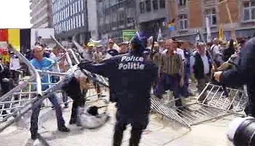 Zásah policie proti demonstraci zemědělců