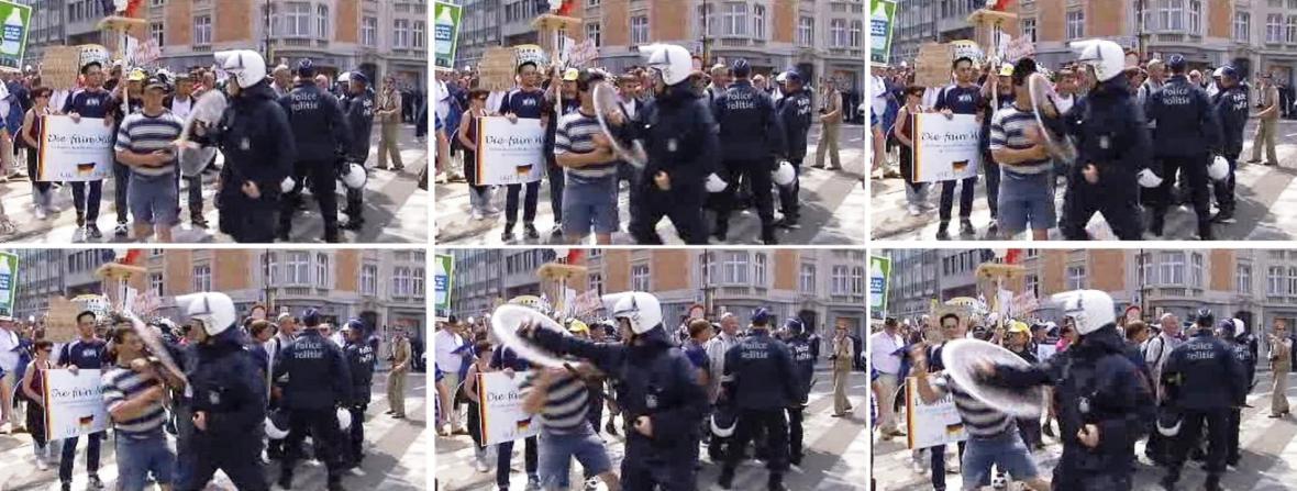 Policejní zásah proti demonstraci zemědělců