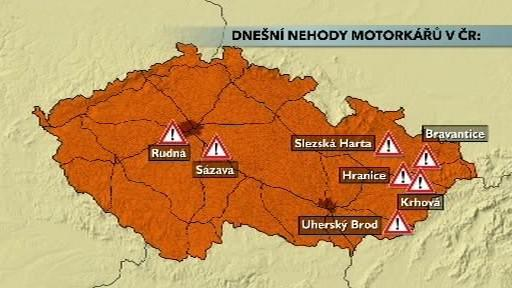 Sobotní nehody motorkářů