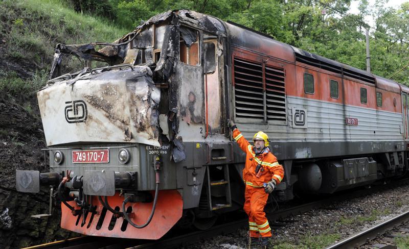 Ohořelá kabina lokomotivy