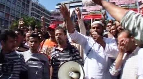Demonstrace muslimů v Aténách