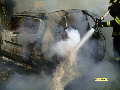 Hasič likviduje požár auta