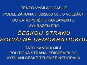 ČSSD nedodala volební spot