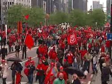 Demonstrace odborářů v Bruselu