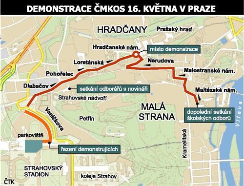 Mapa pochodu odborářů Prahou