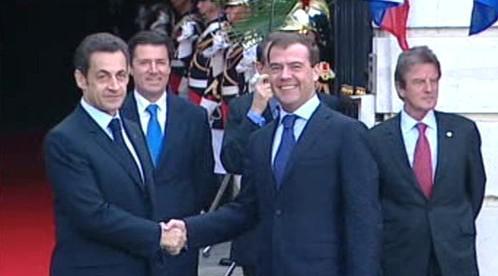 Nicolas Sarkozy a Dmitrij Medveděv