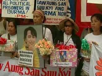 Demonstrace za propuštění Su Ťij