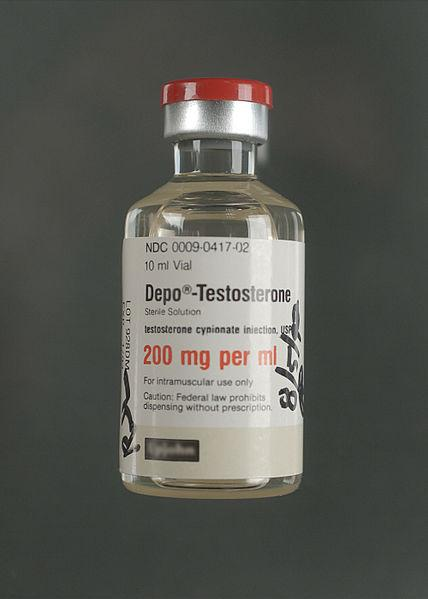 Lahvička obsahující roztok testosteronu