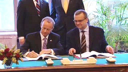 Podpis dohody o vzájemné podpoře investic