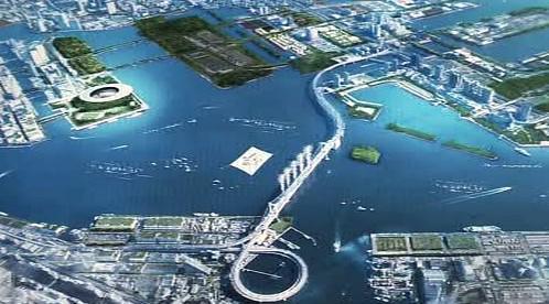 Plánovaná podoba areálu olympiády v Japonsku