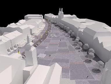 Představa o nové podobě náměstí v Hradci Králové