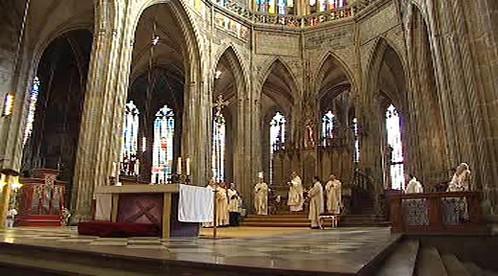 Bohoslužba v pražské katedrále
