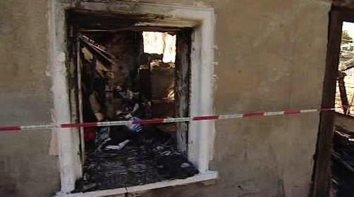 Vyhořelý dům ve Vítkově