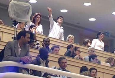 Protest proti projevu Ahmadínežáda