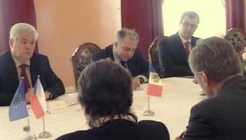 Vladimir Voronin na jednání s Mirkem Topolánkem