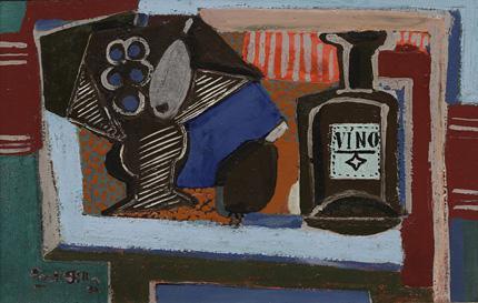 Emil Filla: Zátiší s podnosem a lahví vína
