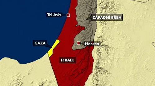 Mapa Izraele a západního břehu Jordánu
