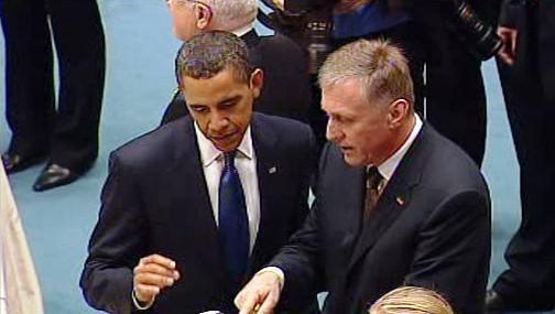 Barack Obama a Mirek Topolánek na summitu EU-USA