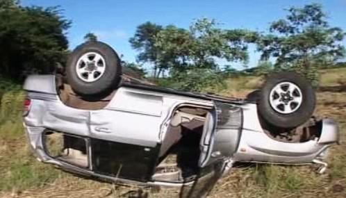 Havarovaný vůz Morgana Tsvangiraie