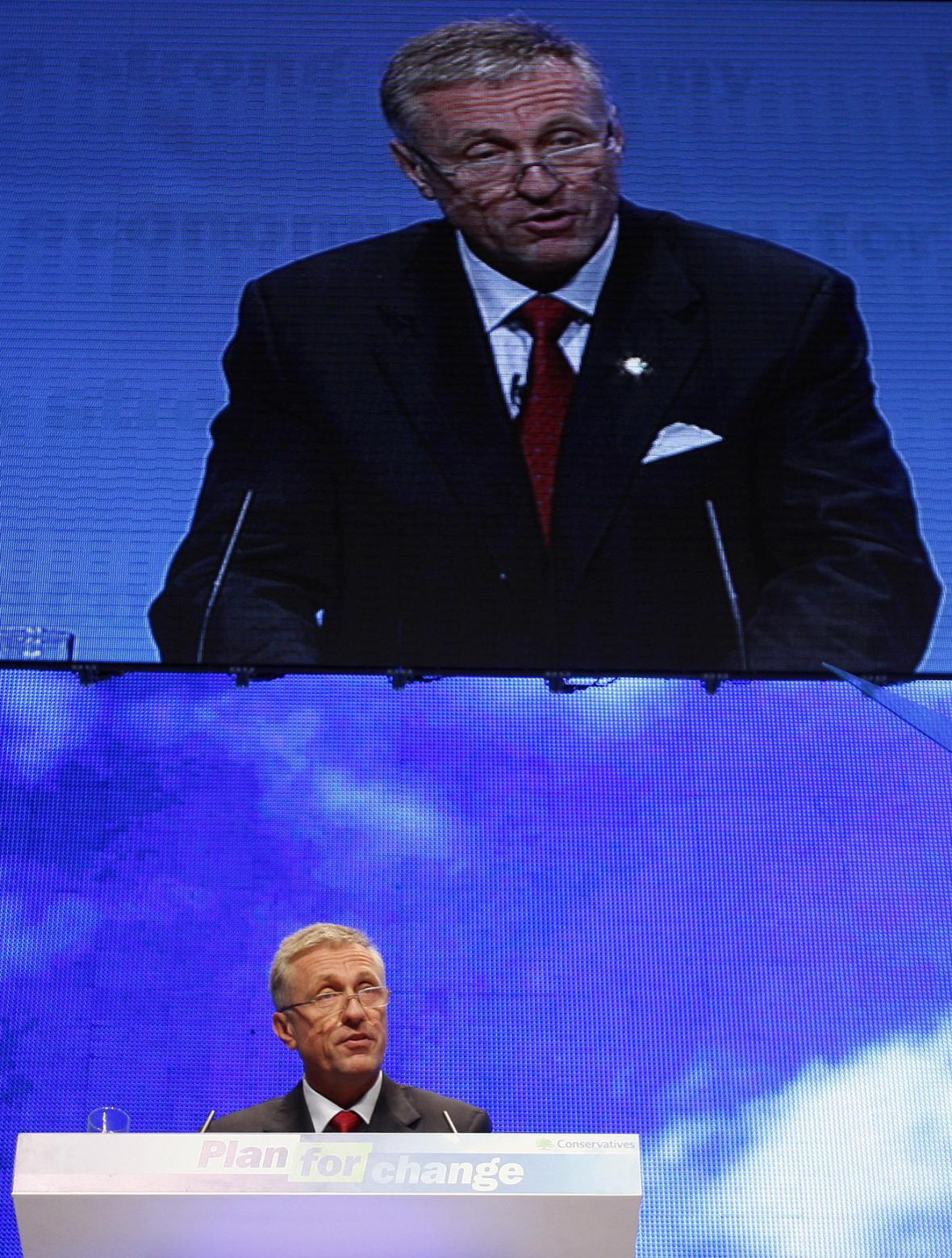 Mirek Topolánek na konferenci britských konzervativců