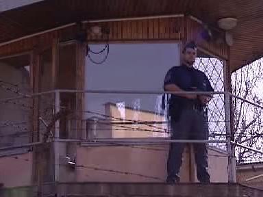 Strážný na věži borské věznice