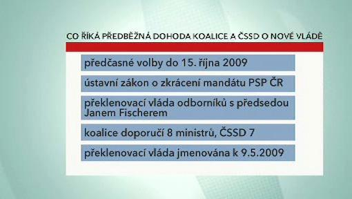 Předběžná dohoda koalice a ČSSD
