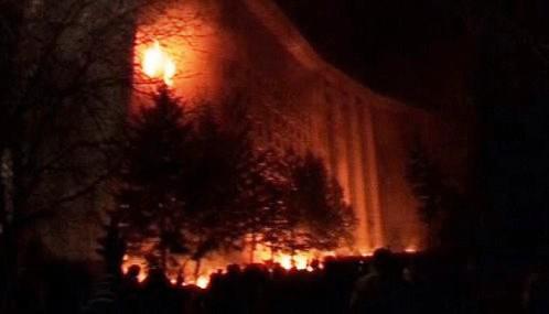 Požár v moldavském parlamentu