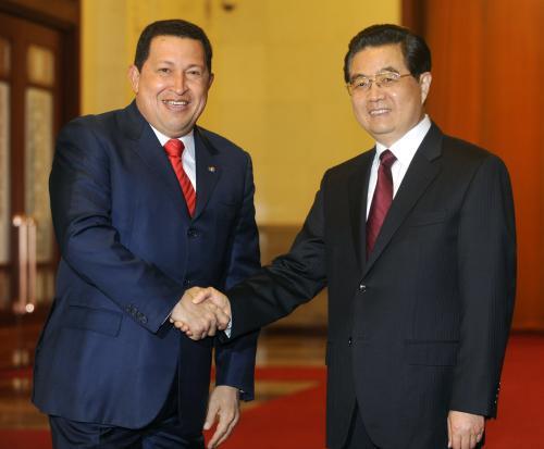 Hugo Chávez a Chu Ťin-tchao