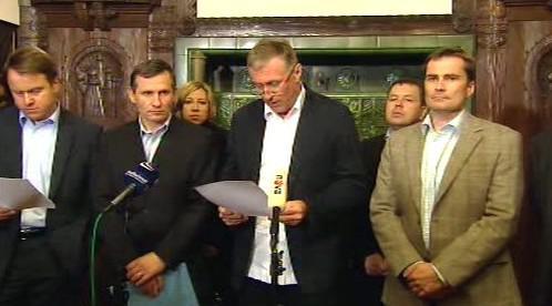 Mirek Topolánek s koaličními partnery