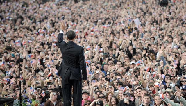 Barack Obama při pražském projevu