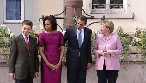 Barack Obama a Angela Merkelová se svými partnery