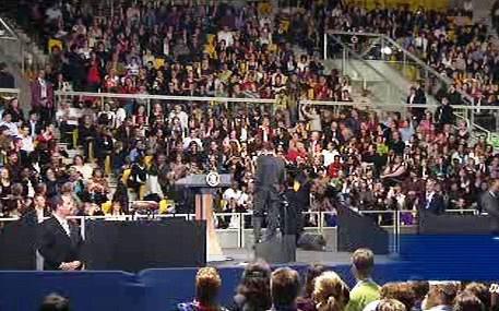 Obama na setkání se studenty ve Štrasburku