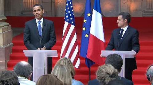 Brífink Baracka Obamy a Nicolase Sarkozyho