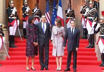 Americký a francouzský prezident s manželkami