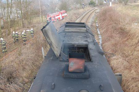 Lokomotiva po požáru
