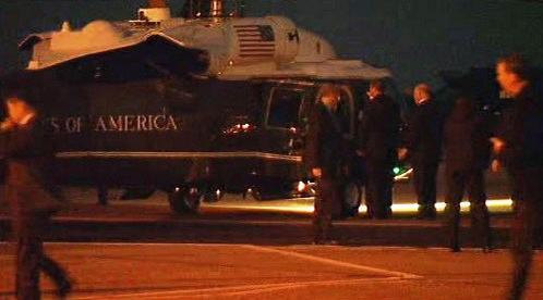 Odlet Baracka Obamy z letiště Stansted
