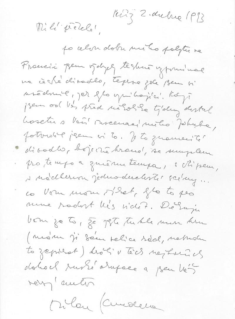 Milan Kundera - dopis
