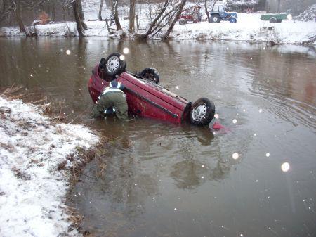 Auto spadlo do řeky