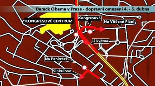 Dopravní omezení při návštěvě Obamy